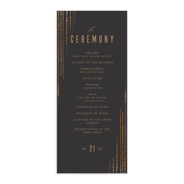 Classic Cascade Wedding Program Front Black