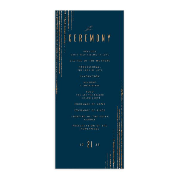 Classic Cascade Wedding Program Front Navy