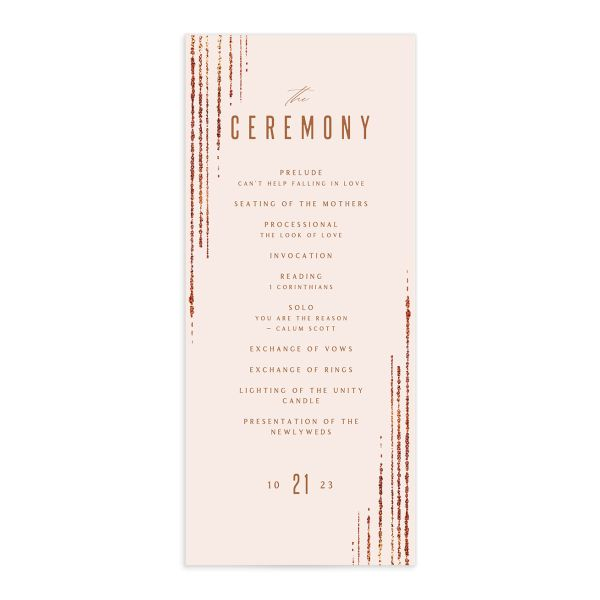 Classic Cascade Wedding Program Front Blush