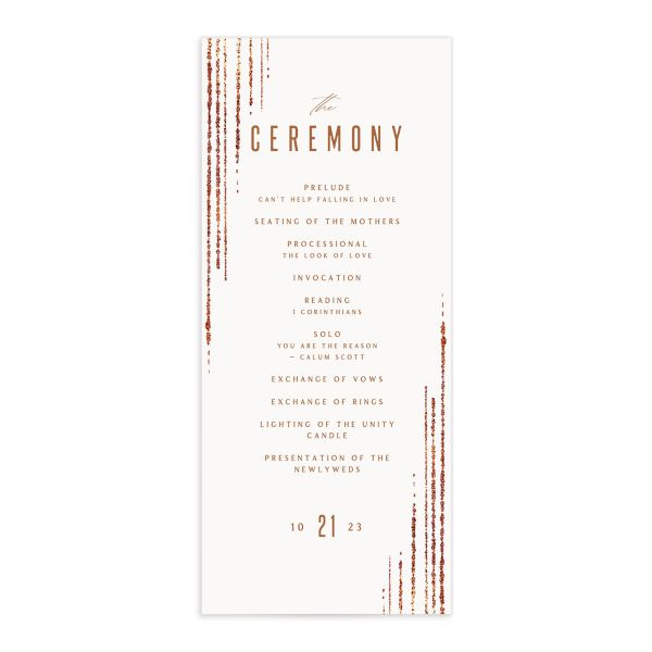 Classic Cascade Wedding Program Front White