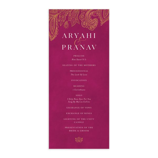Ornamental Elegance Wedding Program Front Pink