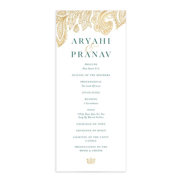 Ornamental Elegance Wedding Program Front White