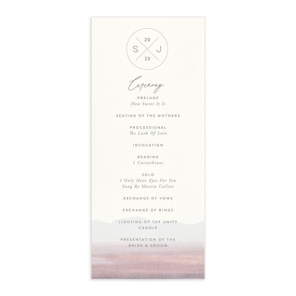 Painted Desert Wedding Program Front Purple