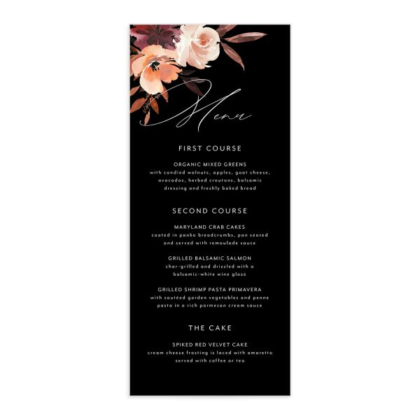 Leafy Floral wedding menu front