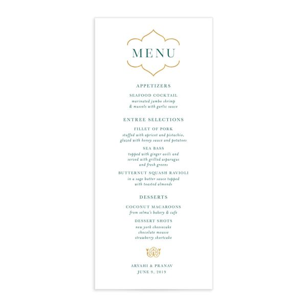 Ornamental Elegance Menu Front White