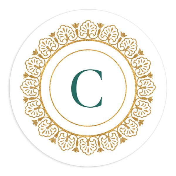 Ornamental Elegance Wedding Sticker White