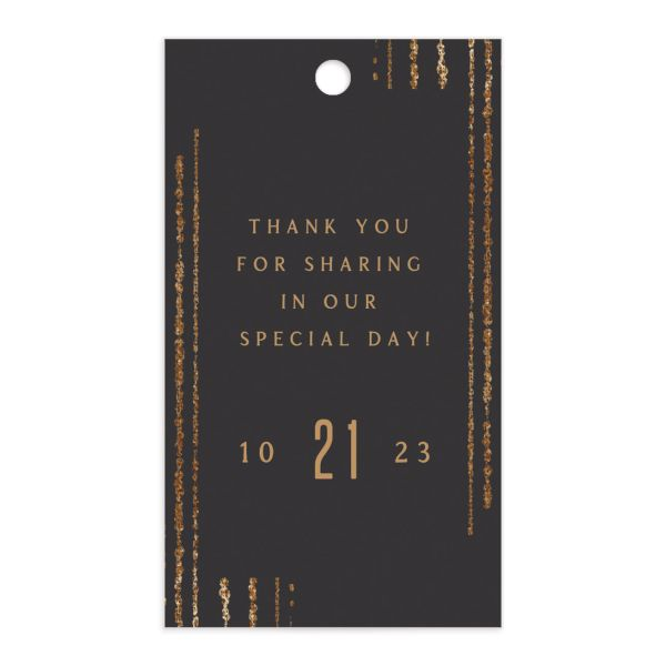 Classic Cascade Wedding Gift Tag Front Black