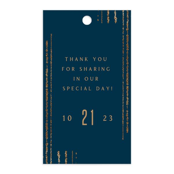 Classic Cascade Wedding Gift Tag Front Navy