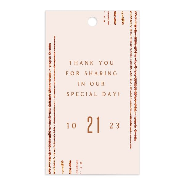 Classic Cascade Wedding Gift Tag Front Blush