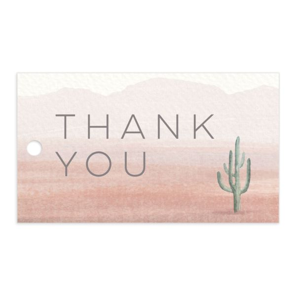 Painted Desert Wedding Gift Tag Front Pink