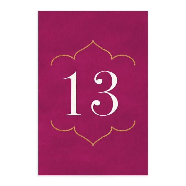 Ornamental Elegance Wedding Table Number Front Pink