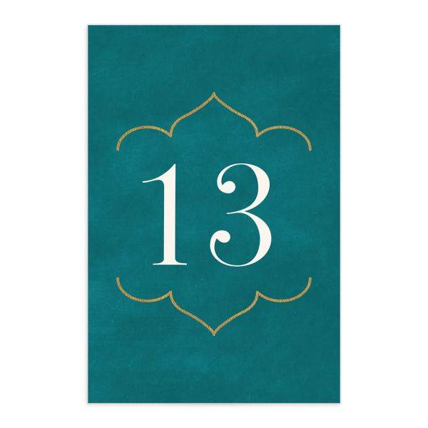 Ornamental Elegance Wedding Table Number Front White