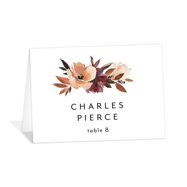 Leafy Floral place card