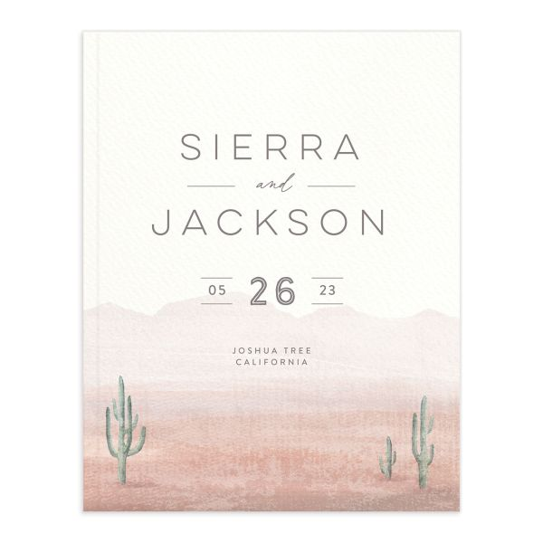 Painted Desert Wedding Guest Book Front Pink