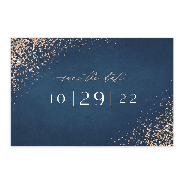 Sparkling Romance Save the Date Postcard Blue Front