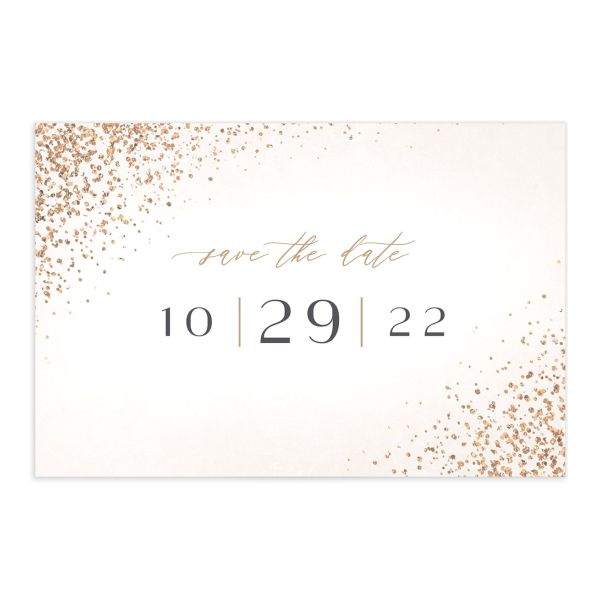 Sparkling Romance Save the Date Postcard Cream Front