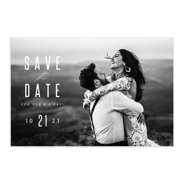 Classic Cascade Save the Date Postcard Front Black