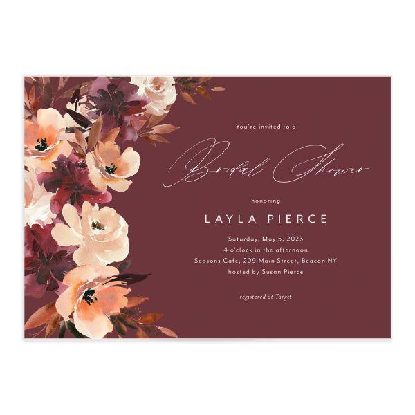Leafy Floral bridal shower invitation front