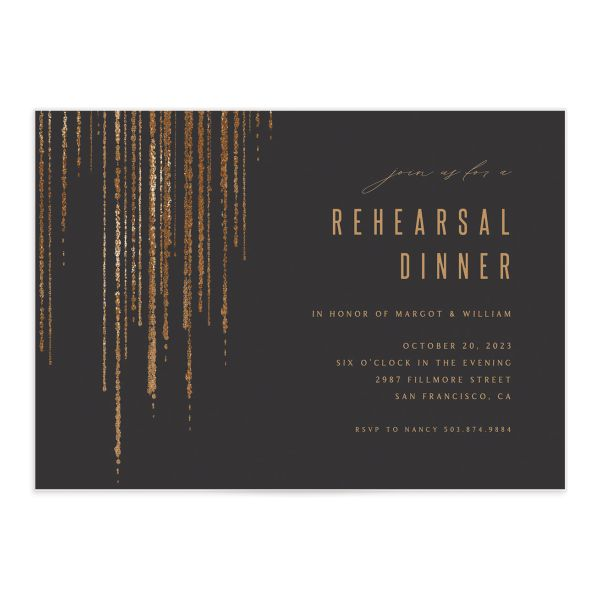Classic Cascade Rehearsal Dinner Invitation Front Black