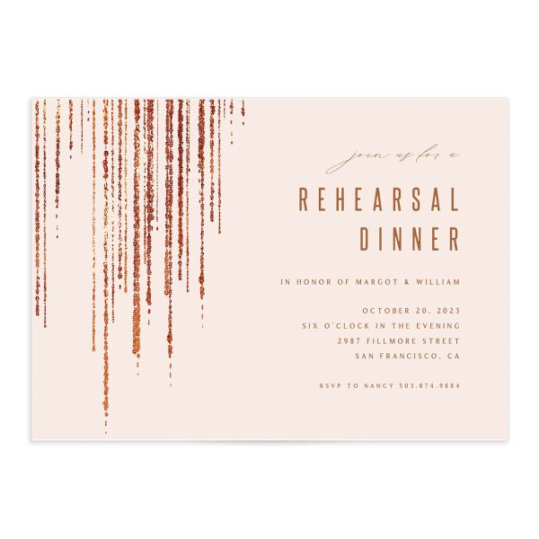 Classic Cascade Rehearsal Dinner Invitation Front Blush