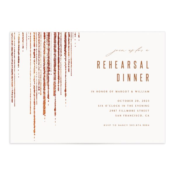 Classic Cascade Rehearsal Dinner Invitation Front White