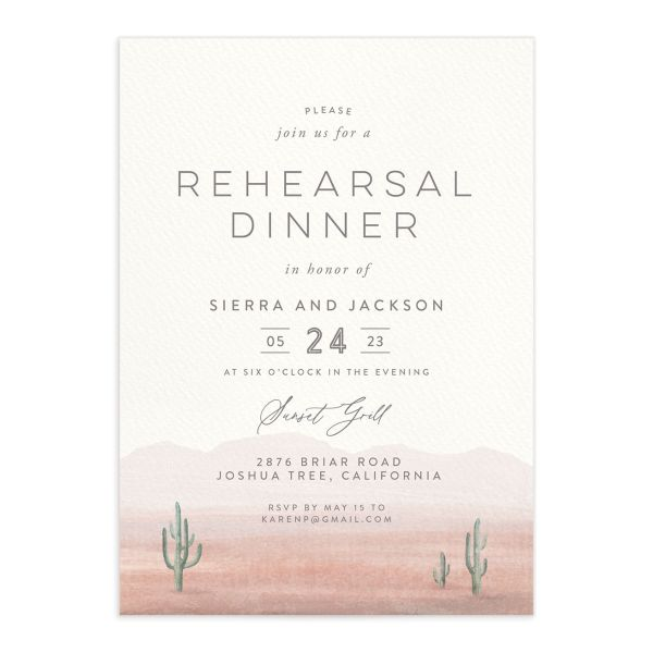 Painted Desert Rehearsal Dinner Invitation Front Pink