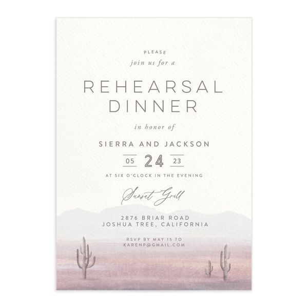 Painted Desert Rehearsal Dinner Invitation Front Purple