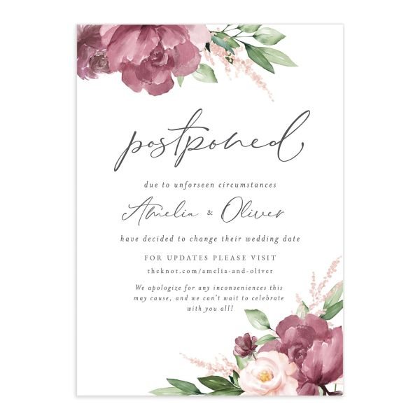 Beloved Floral change the date card in purple front catalog image