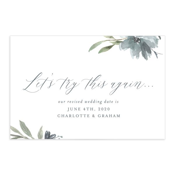 Muted Floral change the date postcard blue