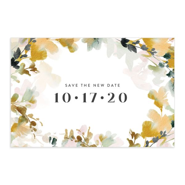 Watercolor Blooms change the date postcard