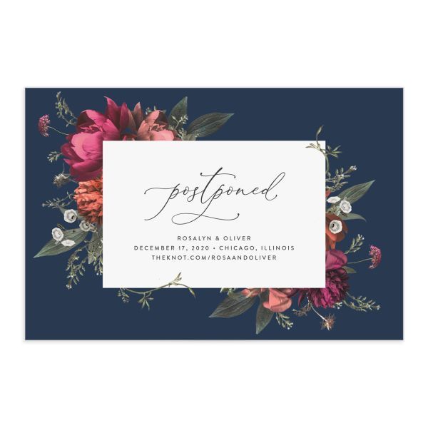 Blooming Botanical change the date postcard blue