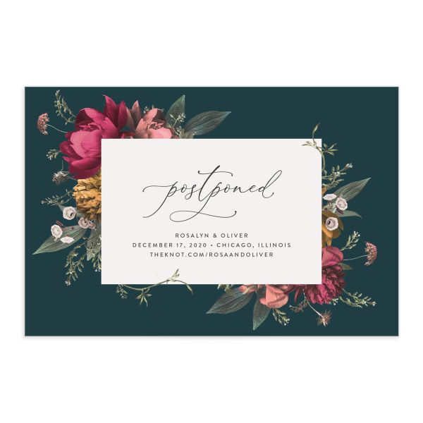 Blooming Botanical change the date postcard teal