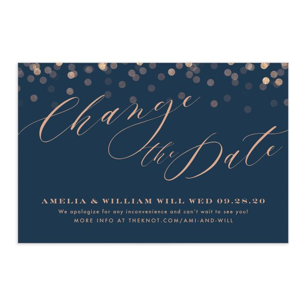 Elegant Glow change the date postcard front blue