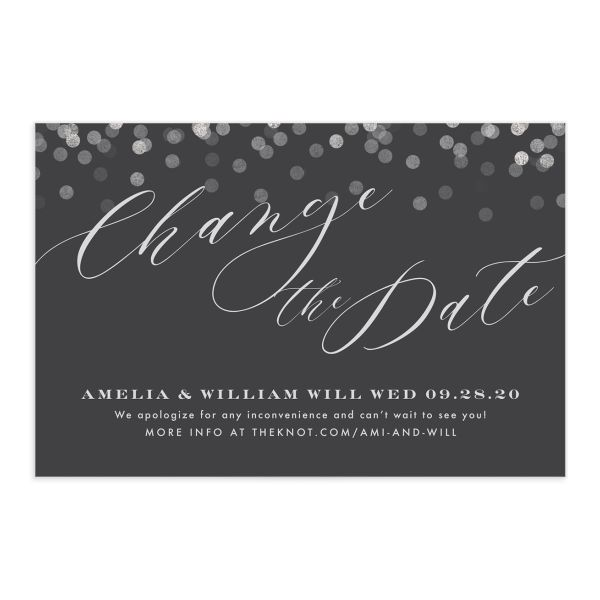 Elegant Glow change the date postcard front grey
