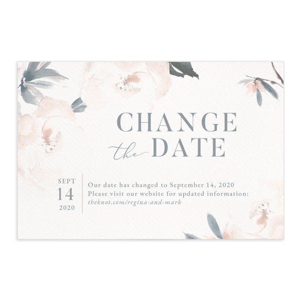 Elegant Garden change the date postcards front blue