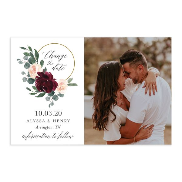 Floral Hoop change the date card front