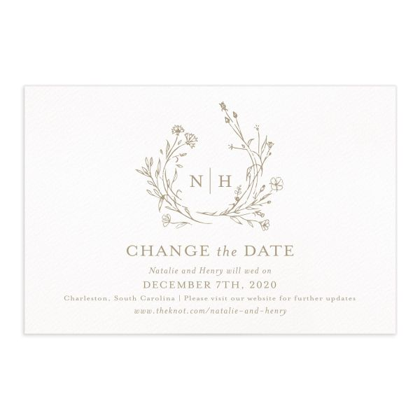 Natural Monogram wedding change of date postcard front