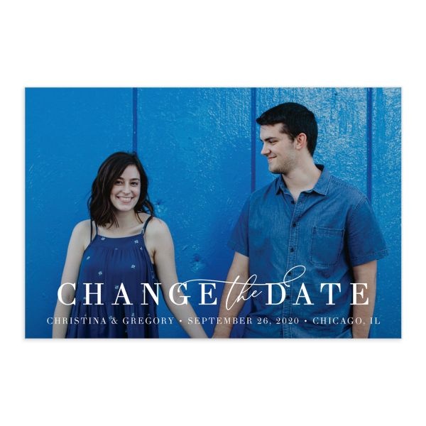 Romantic Calligraphy Change the Date Postcards