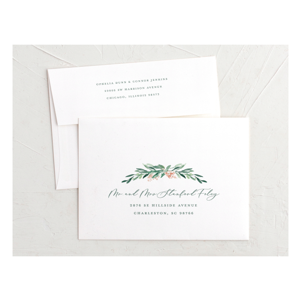 Gilded Botanical recipient addressed envelope - green