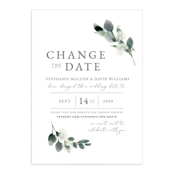 Elegant Greenery Change the Date Cards