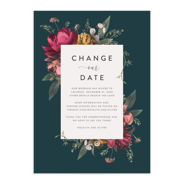 Blooming Botanical change the date front teal