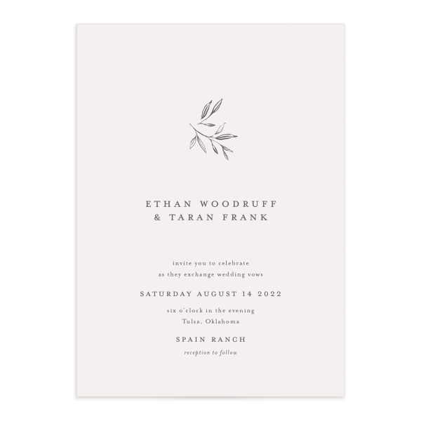 Minimal Leaves wedding invitation front