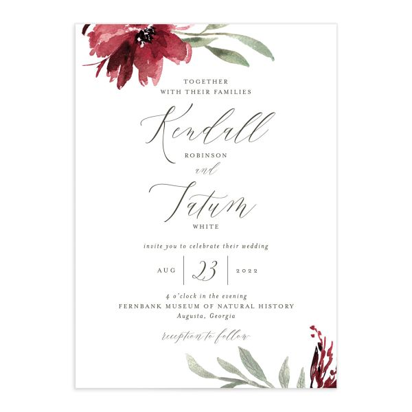 Muted Floral Wedding Invitation front berry