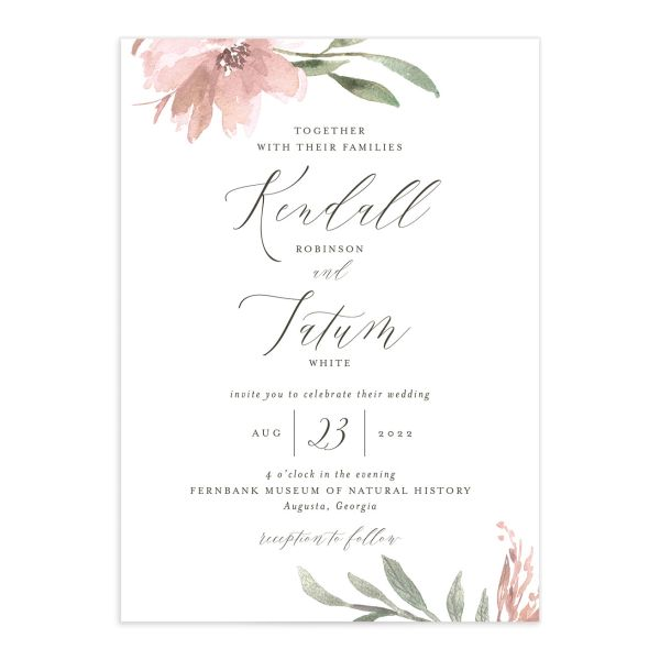 Muted Floral Wedding Invitation front pink