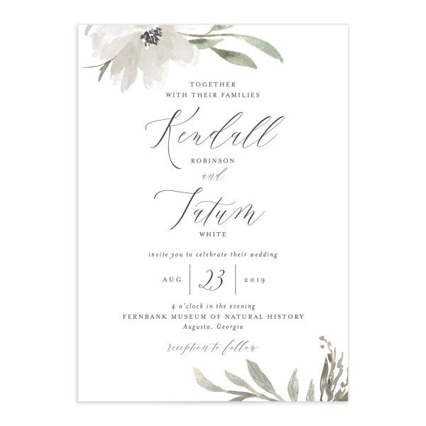 Muted Floral Wedding Invitation front white