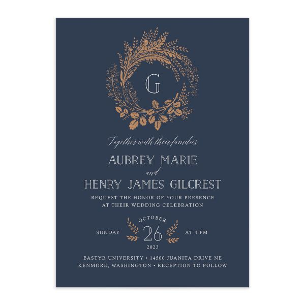 Woodsy Wreath wedding invitation front blue