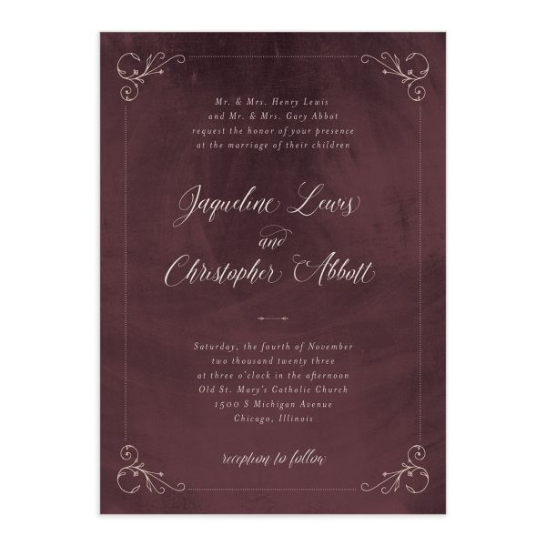 Vintage Luxe Wedding Invitation Front Red