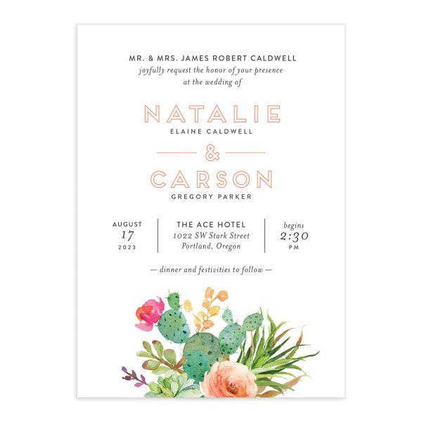 Watercolor Cactus Wedding Invitations