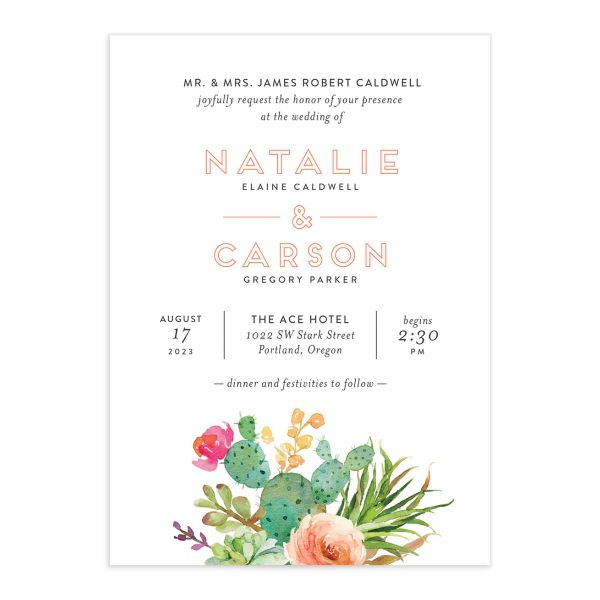 Watercolor Cactus wedding invitation front