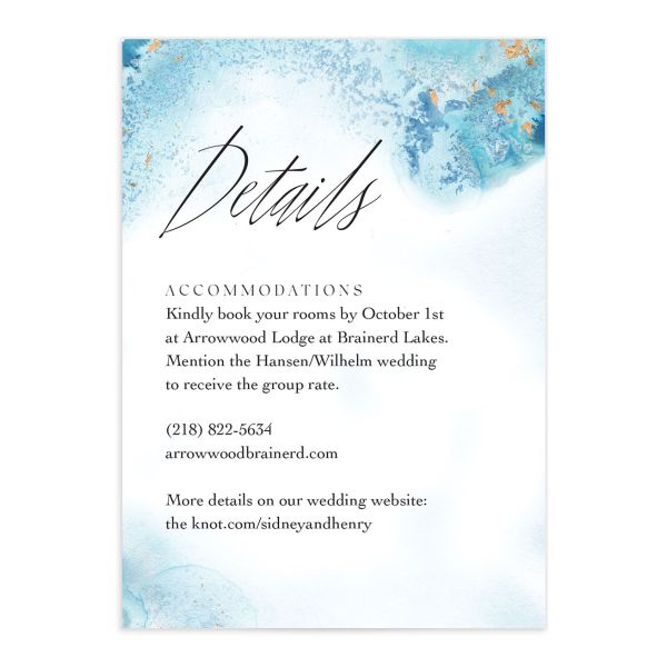 Painted Ethereal Wedding Enclosure Card front blue